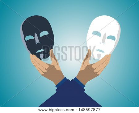 Industrial Espionage Concept With Masked Businessman. Concept Business Illustration. Vector Flat
