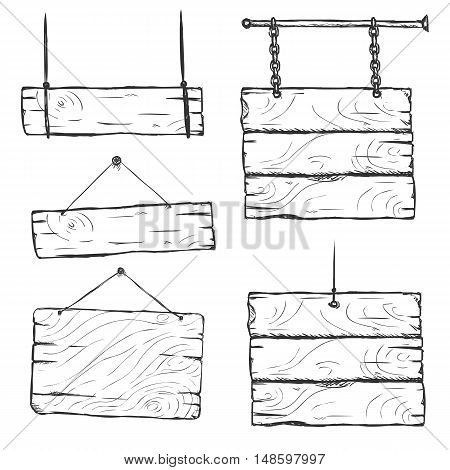 Vector Set Of Sketch Signboards