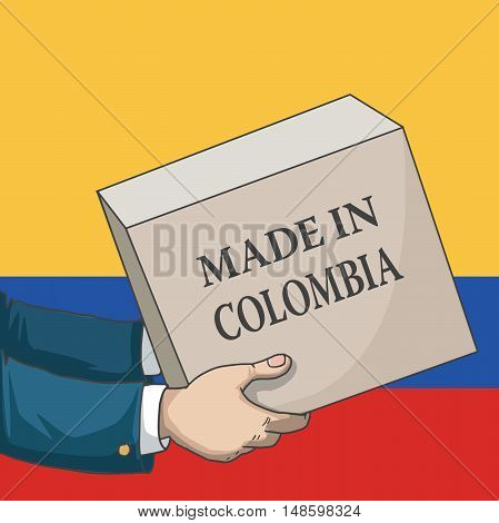 Cartoon, hand drawn human hands, holding a box, with made in Colombia sign, and a flag background, vector illustration