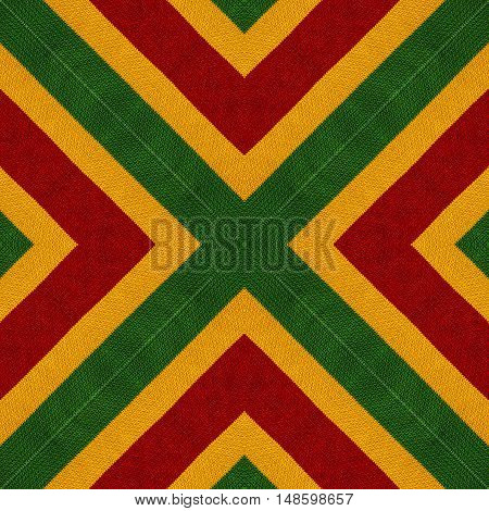 Reggae colors crochet knitted style background top view. Collage with mirror reflection. Seamless kaleidoscope montage for cushion blanket pillow plaid tablecloth cloth poncho