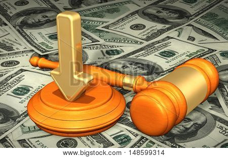 Direction Arrow Legal Gavel Concept 3D Illustration