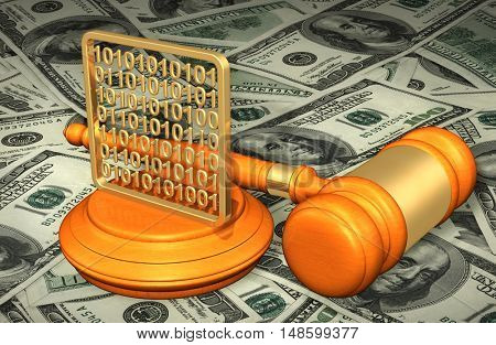 Data Legal Gavel Concept 3D Illustration