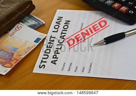 Student Loan Application Lying On The Table