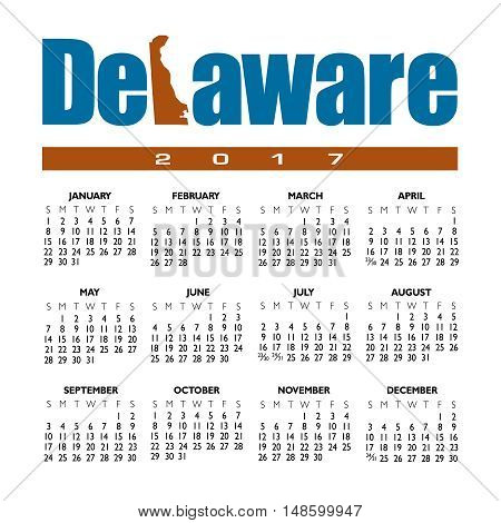 A 2017 creative Delaware calendar with the state outline