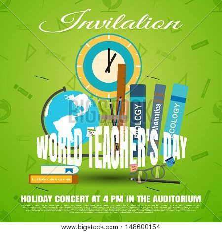 Vector illustration of invitation to the World teacher's day on the gradient green background with seamless pattern.