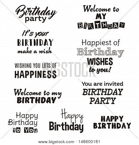 Happy birthday typography text isolated on white background. Vector illustration for anniversary design. Set of greeting lettering card. Party invitation, wish congratulation element
