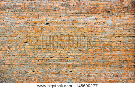 Old Red Brick Wall With Lots Of Texture And Color