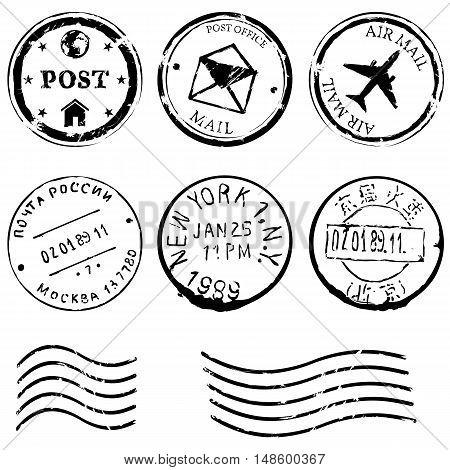 Vector Set Of Black Postal Stamps