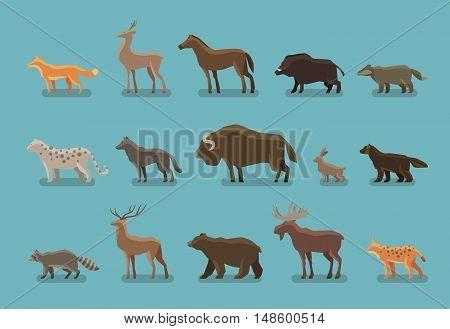 Animals icons. Boar, bear, fox, deer, horse, badger leopard wolf musk ox hare raccoon deer elk lynx wolverine