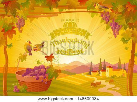 Vector thanksgiving illustration, beautiful autumn landscape on sunny modern elegant background, vineyard, text lettering, copy space. Countryside fall farm symbol, grapes, picnic basket, pumpkin