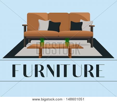 Furniture. Interior. Sofa with pillows and table.