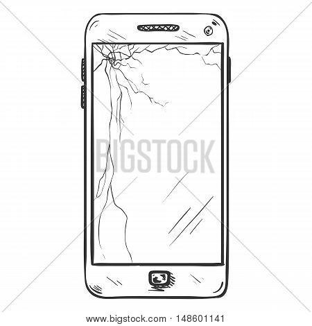 Vector Single Sketch Smartphone With Broken Display