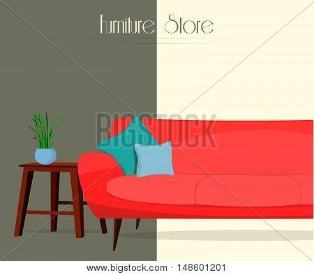 Furniture store. Living room. Interior. Sofa, table, lamp.