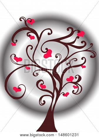 Love tree with heart leaves.abstract background tree with hearts.Valentine tree