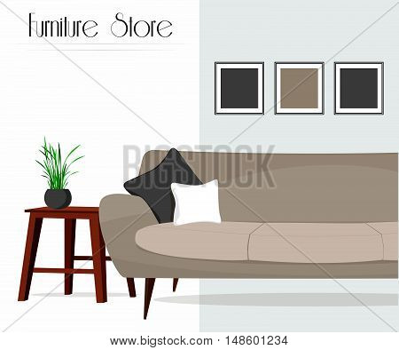 Furniture store. Living room. Interior. Sofa, table, paintings.