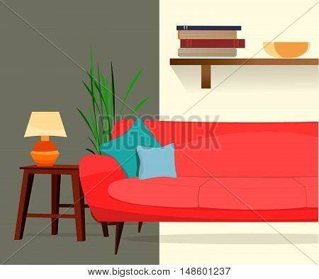 Furniture store. Living room. Interior. Sofa, table, lamp, shelf.