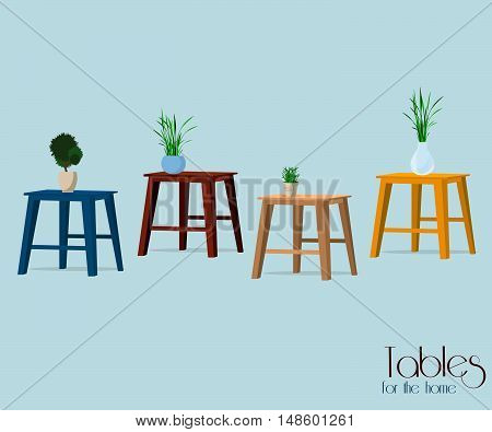 Furniture. Set of colorful tables  and vases