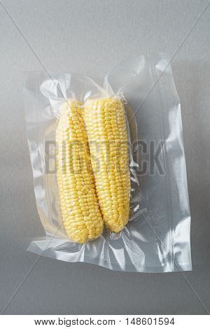 Vacuum sealed fresh corncobs for sous vide cooking