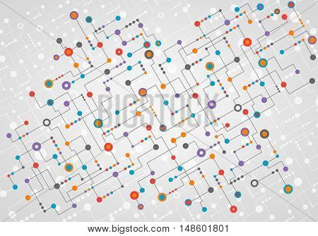 Geometric abstract background colorful line and dot system. Medicine science or technology concept