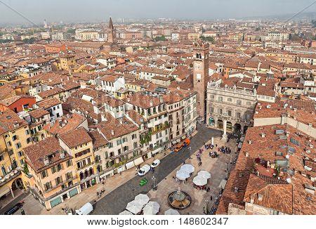 Piazza Delle Erbe (Market square) - view from Lamberti tower Verona Italy