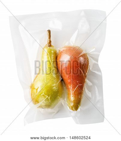 Vacuum sealed fresh pears for sous vide cooking cutout on white