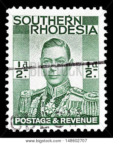 SOUTHERN RHODESIA - CIRCA 1937 : Cancelled postage stamp printed by Southern Rhodesia, that shows King George.