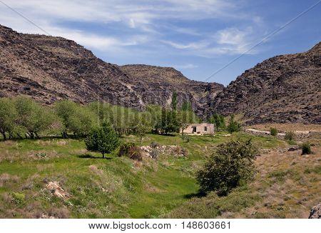 Nuratau, or Nurota, black mountains in Uzbekistan, in spring