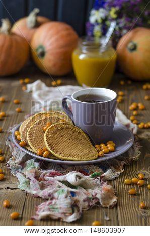 Pumpkin Pancakes With Sea Buckthorn Sauce For Breakfast