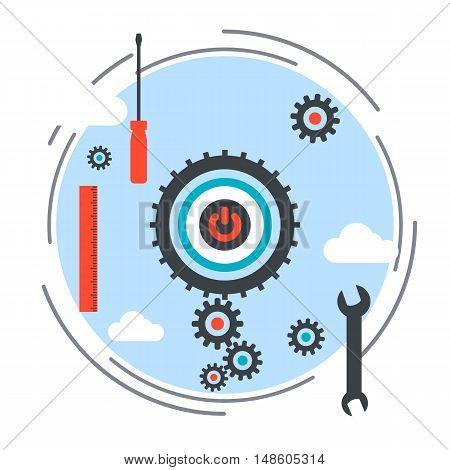 Application development, program debugging, SEO process flat design style vector concept