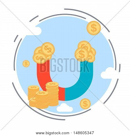 Money magnet, funds accumulation flat design style vector concept illustration