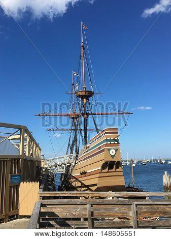 Mayflower replica ship in Plymouth Harbor, Massachusetts
