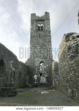 Interior view of Slane Abbey on the Hill on Slane in County Meath, Ireland.