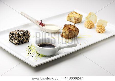 Fish Dish Three firings of bluefin tuna with sauces