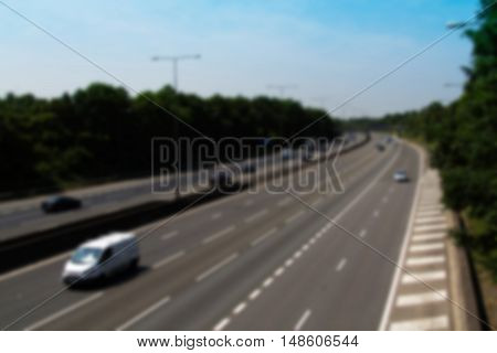 Beaconsfield, England - June 2016: Busy M40 Motorway At The Beaconsfield Turn Off  Out Of Focus.
