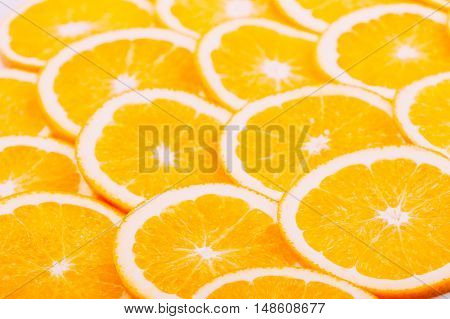 Orange Fruit Background. Summer Oranges. Healthy Food Concept. Close Up Of Oranges Slices.