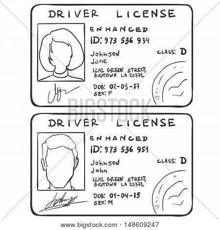 Vector Set Of Sketch Driver's Licences. Male And Female Template