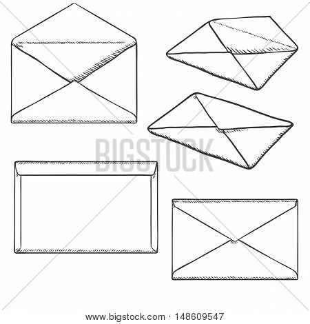 Vector Set Of Sketch Postal Envelopes