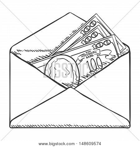 Vector Single Sketch Open Envelope With Banknotes