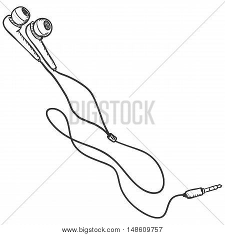Vector Sketch Earbuds And In-ear Headphones.