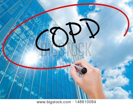 Man Hand Writing Copd With Black Marker On Visual Screen