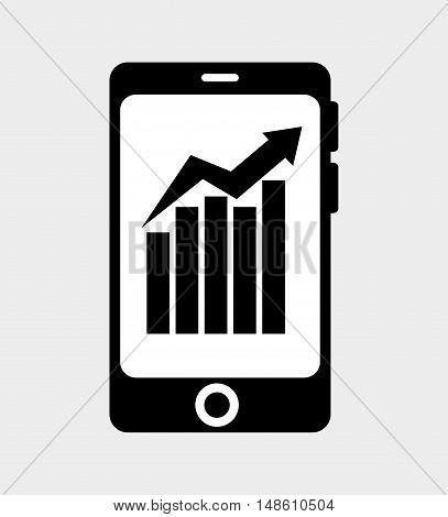 smartphone arrow with barrs growth isolated vector illustration eps 10