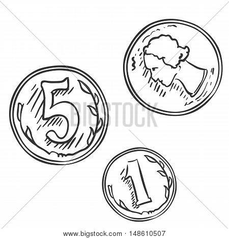 Vector Set Of Sketch Coins