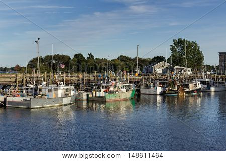Fishing boats docked at Pierce Island in Portsmouth, NH