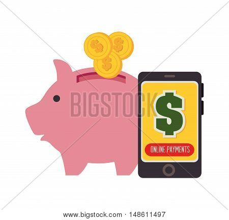 piggy smartphone and currency design graphic vector illustration eps 10