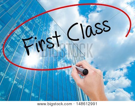 Man Hand Writing First Class With Black Marker On Visual Screen