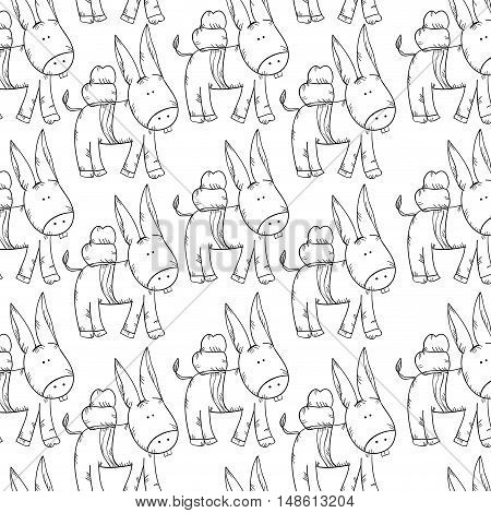 cute donkey animal background. drawn design. vector illustration