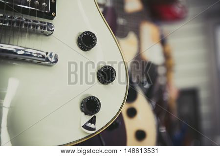 White Electric Guitar Body Detail