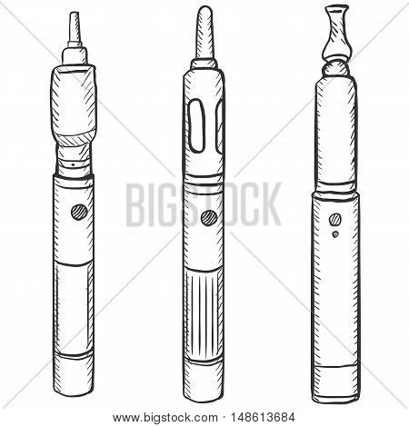 Vector Set Of Three Electronic Cigarettes.