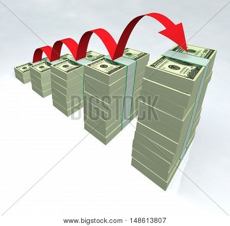 Dollar bills stacked with rising red arrow 3D