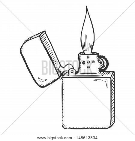 Vector Sketch Retro Lighter With Flame